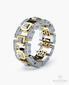 LA PAZ Mens Two-Tone Gold Wedding Band with 1.30 ct Diamonds