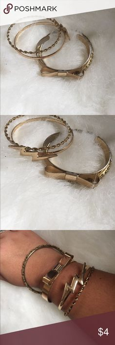 Forever 21 Bangles Gold bangles - light tarnished inside of bangles - perfect condition other than that! Mixed and match different bangles! Forever 21 Jewelry Bracelets
