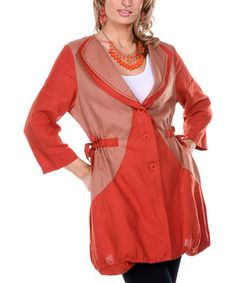 Look at this #zulilyfind! Firmiana Rust Double Collar Linen Jacket - Women & Plus by Firmiana #zulilyfinds