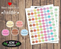 Macaroons Planner Stickers, Printable Macaroon Cookie Stickers, Kawaii Macaroons, Desserts, Print and Cut, Erin Condren Planner, Functional by Ichiprintables