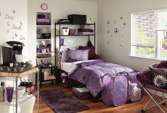 Purple Dorm Rooms, Dorm Room Colors, Cool Dorm Rooms, Teen Rooms, Dorm Room Bedding, Dorm Room Walls, Bedding Sets, College Room Decor, College Dorm Rooms