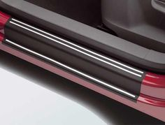 Volkswagen Door Sill Protection film in Black with Silver accent- enhances the entry area of your vehicle while protecting the painted door sill from scratches and scuffs. Shaped to fit with self-adhesive backing for ease of installation. Kit includes four pieces (Front and rear doors). realvolkswagenparts.com