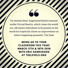 #AR and #augmentedlearning #workshop @the_level_5 coming up this month. 2 days of building AR #learningenvironments. @thevrara @nextreality_ @magiclab @edgarasart #ARientattion