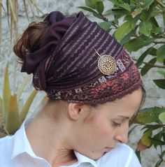 Reversible Awesome 'Bordeaux Purple' Tichel For Special Occasions,Hair Snood, Head Scarf,Head Covering,jewish headcovering,Scarf,apron