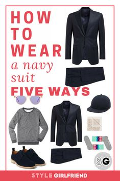 Guys, discover how to wear a navy suit more ways on Style Girlfriend Navy Suit Style, Navy Suit Brown Shoes, Navy Suits, Formal Men Outfit, Dressy Outfits, Best Mens Fashion, Suit Fashion, Suit Supply, What To Wear To A Wedding