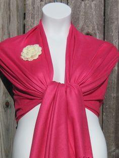 A Beautiful Fushia Pashmina Scarf, Shawl, Wrap, bridal shawl, bridesmaids shawl, bridal gift. $16.00, via Etsy.