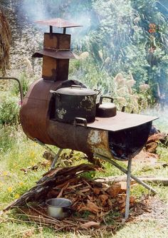 We used to go camping out in farm paddocks, my mates parents would take us, we would go as a large group of people. My mates dad would knock up a 44 gallon drum BBQ on the first day and my mates mum would cook for us all on it. Portable Propane Heater, Outdoor Stove, D House, Rocket Stoves, Wood Burner, Go Camping, Camping Menu, Outdoor Cooking, Outdoor Projects