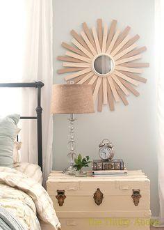 Wood shim sunburst mirror. Cheap, easy decor.  Love It!
