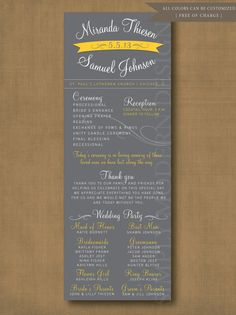 modern banner wedding ceremony program, PRINTABLE