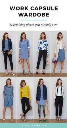 With a little creativity, remixing a work capsule wardrobe is a cinch. Don't get stuck in a fashion rut with what to wear to work. With a little creativity, remixing a work capsule wardrobe is a cinch. Trajes Business Casual, Business Casual Outfits, Business Attire, Work Fashion, Fashion Outfits, Fashion Trends, Curvy Fashion, Fall Fashion, Petite Fashion