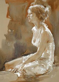 Art painting wonderful style portrait by Paul Hedley art-and-dream: Watercolor Portraits, Watercolor Art, Painting Portraits, Figure Painting, Painting & Drawing, Woman Painting, Artist Painting, Artist Art, Figurative Kunst