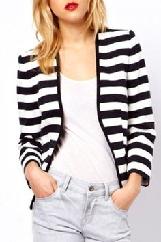 Stylish Collarless Long Sleeves Striped Cardigan For WomenSweaters & Cardigans | RoseGal.com