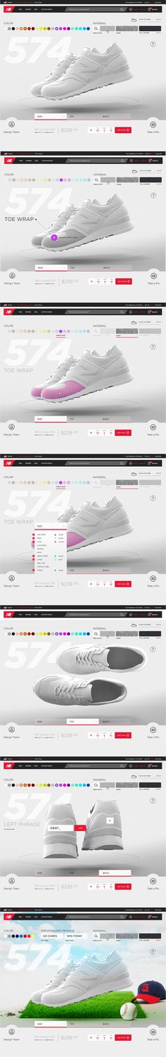 The interface now incorporates every data point and interaction allowed and keeps the shoes front and center. The minimal design approach allows the shoe and the users creation to be the hero.