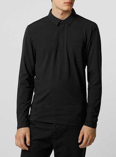 Photo 1 of Selected Homme Black Long Sleeve Polo Shirt