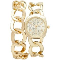 Forever New Francesca Watch Set ($15) ❤ liked on Polyvore featuring jewelry, watches, accessories, bracelets, montre, gold, chain link watches, chain link jewelry, shoulder chain jewelry and forever new