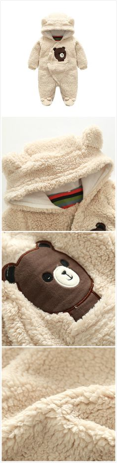 Cartoon Bear Cashmere Baby Unisex Hooded Winter Warm Jumpsuit Infant Toddler Girl Boy Romper For Winter