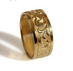14k Yellow Gold Scrolls band Art Deco wedding band by DINARjewelry