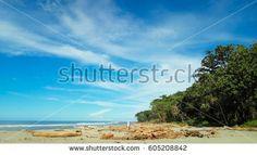 Panorama of beautiful beach in Amban Pantai, Manokwari, West Papua, New Guinea