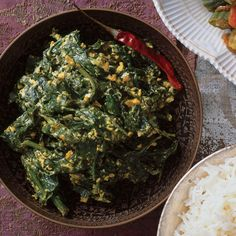 At Bedla House, a homestay in Udaipur, husband-and-wife owners Vijay and Soban Singh Bedla invite guests into their kitchen to watch them cook. Yogurt Recipes, Spinach Recipes, Vegetable Recipes, Savoury Recipes, Easy Indian Recipes, Asian Recipes, Ethnic Recipes, Light Recipes, Wine Recipes