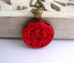 Red fiber necklace crochet pendant for her by Deconfetti on Etsy, $20.00