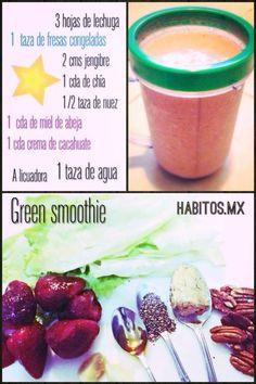 Rico smoothie en licuadora! (fresas, lechuga, crema de cacahuate)