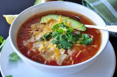 The Best Chicken Tortilla Soup. Photo by SharonChen ~ I like this recipe because you throw everything in the Crock Pot and 5 to 6 hour later it is done, not to mention it is delicious!