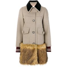 Nº21 check faux fur trim coat ($2,490) ❤ liked on Polyvore featuring outerwear, coats, checked coat, button coat, oversized fur coat, checkered coat and faux coat