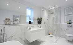 Expect excellence from Minoli Calacatta Extra marble-effect porcelain tiles. Expect excellence from Minoli Calacatta Extra marble-effect porcelain tiles. Grey Marble Bathroom, Marble Look Tile, Marble Effect, Grey Bathrooms, Royal Bathroom, Bathroom Showrooms, Bathroom Renos, Bathroom Flooring, Bathroom Wall