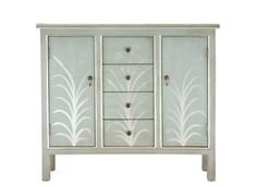 Erin Credenza | Charming in a silver, blue-gray finish with gloss floral accents, this credenza is ready to complete your living room, dining room or entryway.