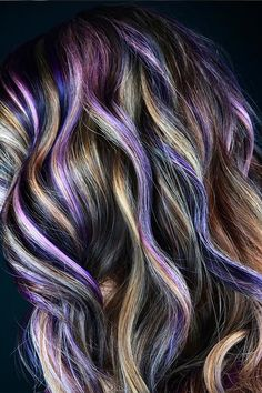 🍇🥜Peanut Butter and Jelly Hair: Beautiful purples, burgundies, and golds hairstyle inspired by our favorite childhood snack Curly Hair With Bangs, Long Curly Hair, Curly Hair Styles, Brown Blonde Hair, Blue Hair, Violet Hair, Purple Burgundy Hair, Medium Blonde, Medium Curly
