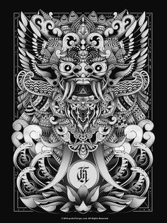 Barong Bali Art Print by godzillarge Barong Bali, Tattoo Drawings, Art Drawings, Cambodian Art, Dragons, Mask Drawing, Indonesian Art, Thai Art, Japanese Characters