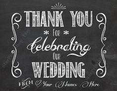 Thank You For Celebrating Our Wedding Personalized Printable by http://starprintshop.etsy.com #wedding #bridal