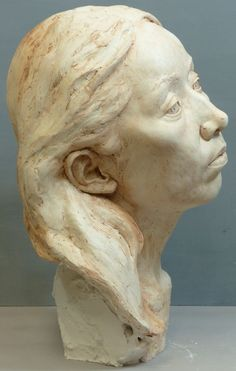 by Tristan MacDougall titled: 'Portrait of Junko (Plaster Commission Bust statue)'. Sculpture Head, Plaster Sculpture, Sculptures, Head Statue, Statues, Art Reference, Bespoke, Sculpting, Study