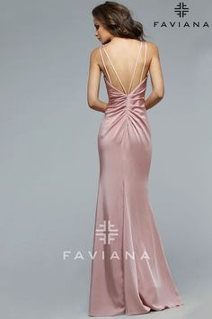 This long fitted satin dress features a deep neckline and leg slit. Available Colors: Black, Peri, Navy, Coral, Dusty Pink, Red, Wine, Sage Green, and Ivory *Please Note: All dresses listed on this website are in stock at The Prom Shoppe or may be special ordered from The Prom Shoppe (see o