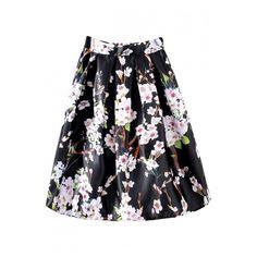 Black High Waist Floral Print Midi Full Skirt featuring polyvore, fashion, clothing, skirts, full skirt, black full skirt, mid-calf skirt, midi skirt and floral midi skirt