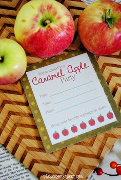 Fun Printable Caramel Apple Party Invite at thebensonstreet.com  Get your #caramel recipes ready for this great party #Wertherscaramel