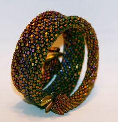 Bead Crochet Bangle-love these colors!