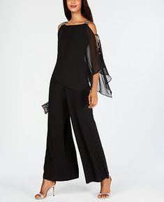 Msk Embellished Chiffon-Overlay Jumpsuit - Black S Chiffon, Modelos Plus Size, Look Girl, Jumpsuit With Sleeves, Lace Pants, Denim Jumpsuit, Review Dresses, Overall, Dresses With Leggings