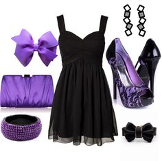 """""""Little Black Dress WIth Purple Accessories"""" by gabriellhill on Polyvore"""