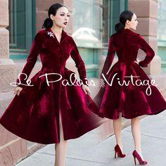 Le Palais Vintage Classic Elegant Deep Red Velvet Long Coat - Designed by Winny