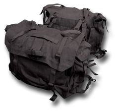Pair of Canvas Motorcycle Panniers / Saddle Bags, black canvas army packs
