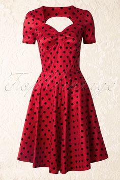 Vixen - 50s Eliza Polkadot Swing Dress in Red € 64,95