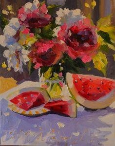 "Saatchi Online Artist CECILIA ROSSLEE; Painting, ""WATERMELON MEDLEY ~ sold"" #art"