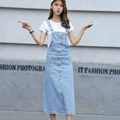 New Jeans Dress fashion women ladies Long denim strap solid jean dress loose fitting sleeveless long overalls dungarees summer