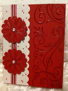 red card was heat embossed with clear embossing powder to give a shiny gloss to the flourishes - bjl