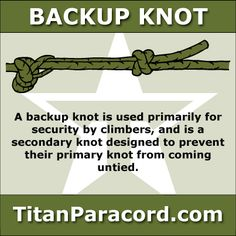 A backup knot is used primarily for security by climbers, and is a secondary knot designed to prevent  their primary knot from coming untied.