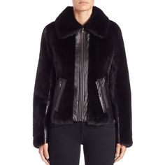 Michael Kors Collection Leather-Trim Mink Fur Jacket ($3,500) ❤ liked on Polyvore featuring outerwear, jackets, apparel & accessories, black, long sleeve jacket, leather trim jacket, black mink jacket, black long sleeve jacket and michael kors