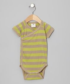 Take a look at this Dill & Taupe Stripe Wrap Organic Bodysuit - Infant by Kate Quinn Organics on #zulily today!
