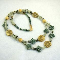 Necklace, Moss Agate Opulence £16.95 by Maxine Veronica hand made one of a kind Jewellery