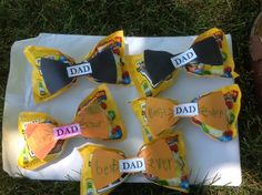 Fathers Day Bow Ties - I teach the 6/7 year olds in Primary.  I wanted to have a gift they could make  their dads, for Father's Day.  I looked on Pinterest and found various ideas of bowties using candy.  I thought that idea was great!  I used packages of m&m's and a bowtie clipart that I found on the internet. We used a rubber band around the middle of the candy package to make the shape and then taped our paper bowtie on top.  The kids loved them and I think they turned out great!!!
